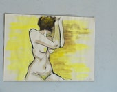 Original Tempera Painting on paper, golden nude No.9 by juliacalimera