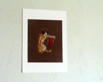 Original Pastel Drawing on paper, Red drap nude No.30 by juliacalimera