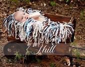 Blue Fringe Blanket Photography Prop
