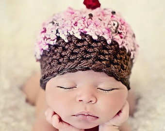 Newborn Baby Girl Photo Prop Cupcake Hat