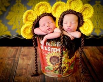 Newborn Baby Girl Photo Prop SunFlower Hat