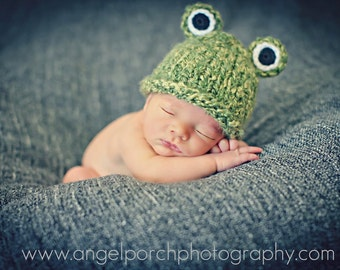 Newborn Photo Prop Baby Boy Frog Hat