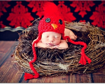 Newborn Photo Prop Baby Cardinal Hat