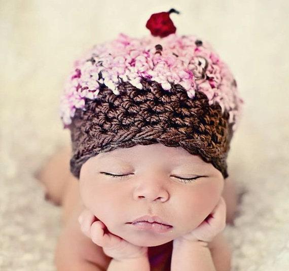 Newborn Baby Girl Photo Prop Cupcake Hat