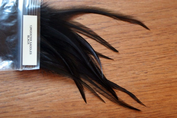 QTY 12 Black Rooster Saddles 5-7 inch variant Feather Extensions Feather Earrings and more