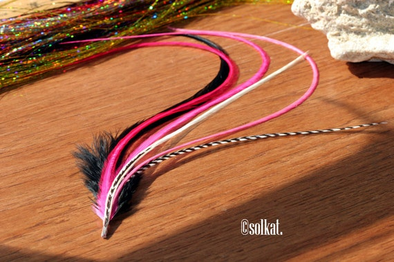 Hot Pink Hair Feather Extension Kit Black Grizzly VERY long