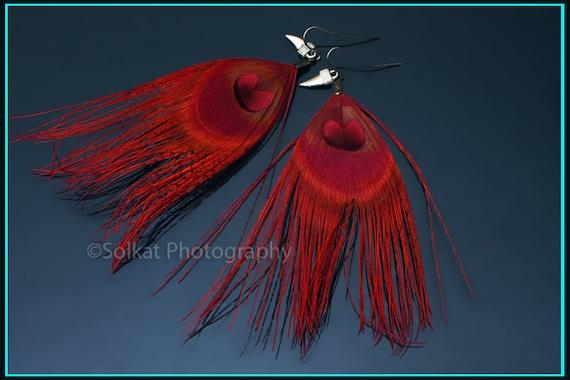 Crimson Red Peacock Feather Earrings with Arrowhead Charms Flirty and Fun
