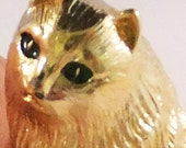 Vintage Monet persian cat brooch in etched gold tone with green enameled eyes brooch Sale half price