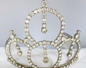 Vintage jewelry tiara prom or wedding silver tone with clear rhinestones beauty queen tiara