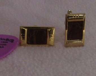 Vintage HICKOCK leather and gold tone cuff links Wedding cuff links