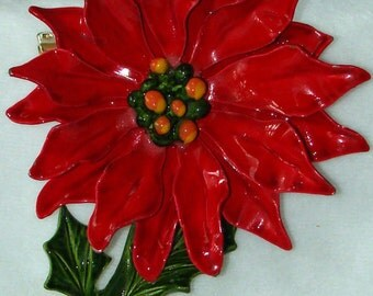 Vintage jewelry brooch in firecracker red flower enameled brooch Sale half price