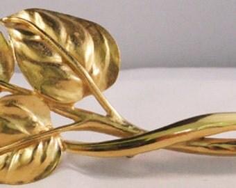 Vintage jewelry brooch  huge Trifari  gold tone leaf brooch