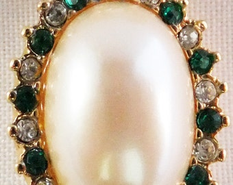 Vintage signed Monet white simulated pearl and green and clear rhinestone necklace Spring sale Free shipping USA