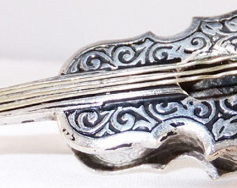 Vintage jewerlry brooch signed Spain silver tone guitar brooch 1950s brooch