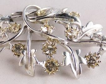 Vintage pale yellow rhinestones leaf brooch in silver tone 1960s Wedding brooch Sale half price