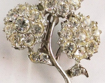 Vintage jewerly brooch in pot metal and clear rhinestone brooch 1940s Sale half price