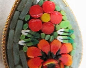 Vintage jewelry brooch in mille flori micro  Italian tile mandolin brooch 60s Sale half price