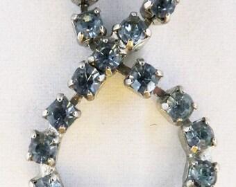 Vintage aqarmirine blue rhinestone wedding necklace in silver tone necklace Sale half off