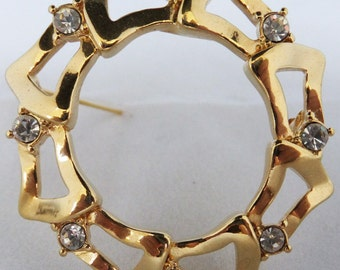 Vintage jewelry brooch by Monet gold tone circle brooch with clear rhinestones 60s Sale Half price