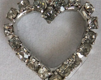 Vintage jewelry bracelet in double row rhinestones with heart in silver tone 7inch bracelet