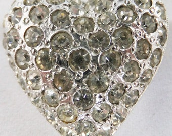 Vintage jewelry brooch in pave set clear rhinestones on silver tone heart brooch Sale half price