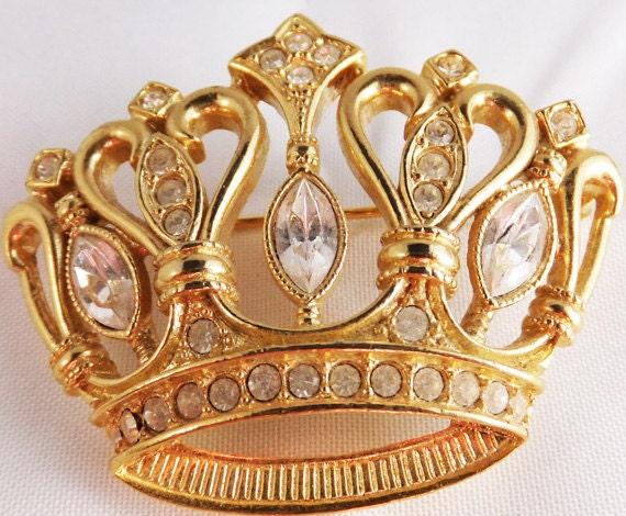 Vintage jewelry brooch KJL for Avon gold and rhinestone crown brooch