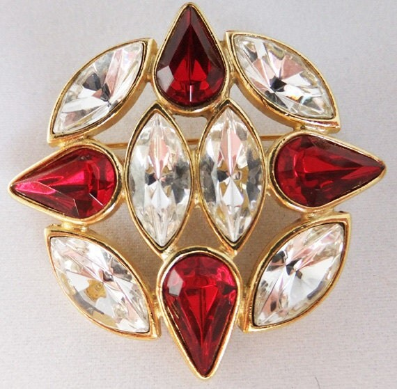 Vintage jewelry brooch by JoJak genuine Austrian fire engine red and clear crystal brooch  in gold tone
