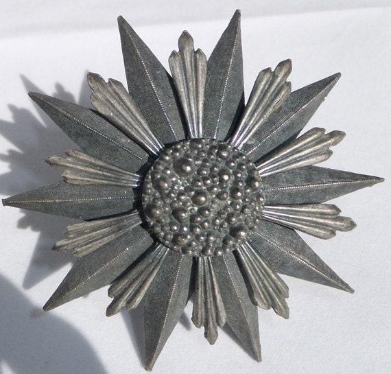 Vintage Steel Color Huge Star or  Stellar brooch, pendant