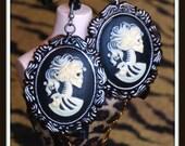 Dia De Los Muertos Skeleton Goddess Cameo Earrings