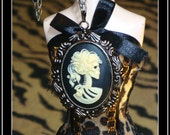 Dia De Los Muertos Skeleton Goddess Cameo Antiqued Silver Pendant Necklace