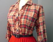 Vintage Cotton Red  White and Blue Plaid 60s 70s Rockabilly Button Down Blouse