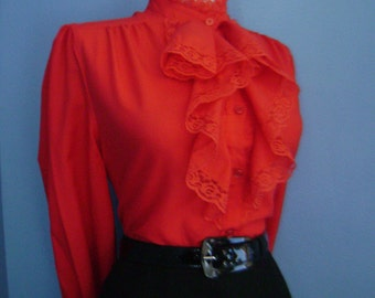 SALE Flirty Lipstick Red 50s 60s Fitted Button Down Long Sleeve Blouse w/ Lace Ruffle Collar