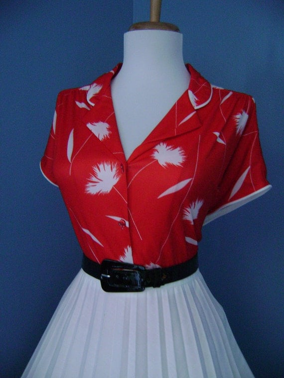 Vintage  50's 60's  Red and White Atomic Button Down Short Sleeve Blouse Top Shirt