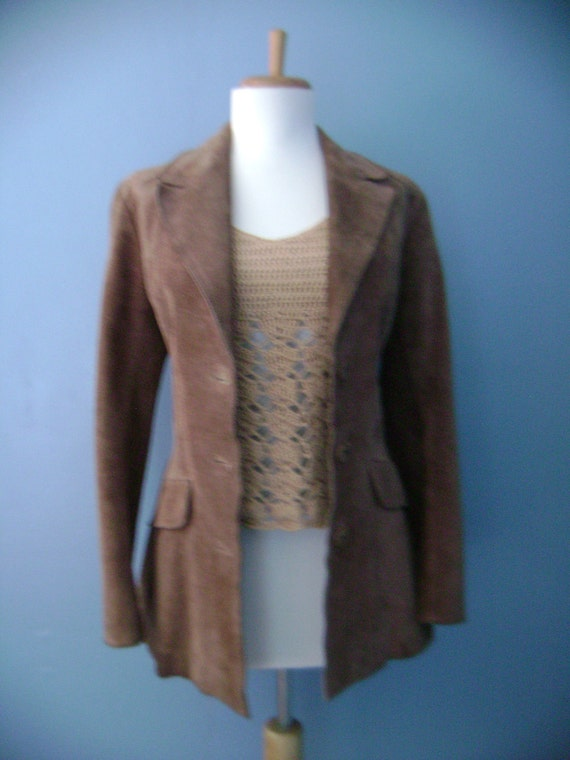 SALE Vintage 1960s 1970s light BROWN Suede Leather Jacket Coat