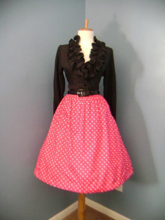 VIintage 1950s 1960s Pink & White Polka Dot Full Skirt