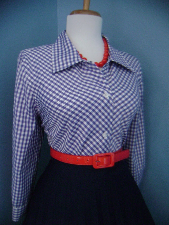 Vintage Cotton Blue and White Gingham Plaid 1950s 1960s Look Button Down Blouse