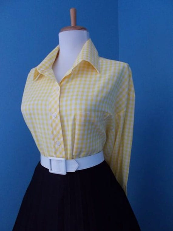Vintage Cotton Yellow and White Gingham Plaid Button Down Blouse