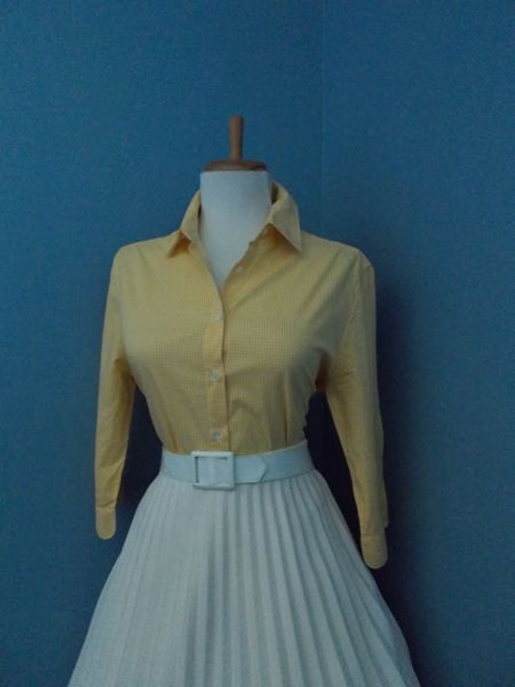 Vintage Cotton Yellow and White Gingham Plaid 1950s 1960s Look Button Down Blouse