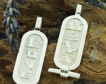 Egyptian silver Double sides Cartouche Love w/ Hieroglyph & English