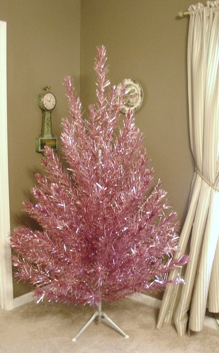 RESERVED RARE Vintage Pink Aluminum Christmas Tree 6.5