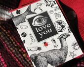 EYE LOVE YOU greeting card black and white Valentine