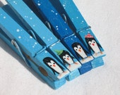 BLUE CHRISTMAS PENGUINS painted magnetic clothespin set