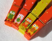 ORANGE OWLS hand painted magnetic clothespin set