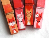 CATS hand painted magnetic clothespin set - red, orange, pink