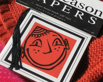 HAPPY FACE gift tag set of 3