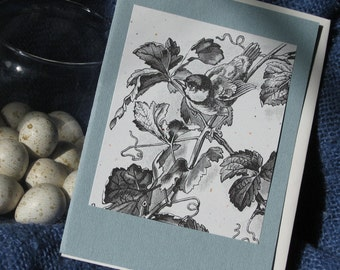 Bird on a Vine Spring blank greeting card