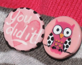 YOU DID IT owl hand painted magnet set