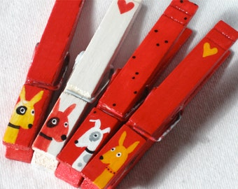 RED DOGS hand painted magnetic clothespin set