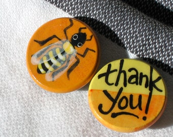 THANK YOU BEE hand painted magnet set