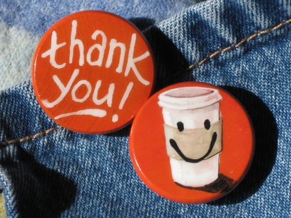 THANK YOU COFFEE hand painted magnet set